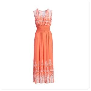 Coral and White Shirred Maxi Dress